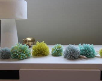 Yarn Balls - chartreuse, aqua & teal decoration