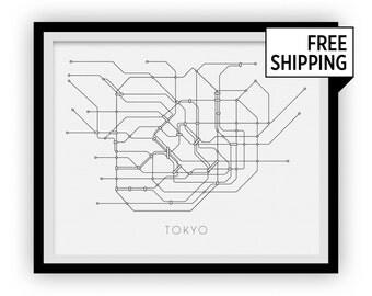 Tokyo Subway Map Print - Tokyo Metro Map Poster