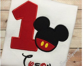 1st , 2nd , or 3rd Mickey Mouse Embroidered T-Shirt or Bodysuit,  Disney Birthday Outfit, Mickey Mouse Shirt or Bodysuit