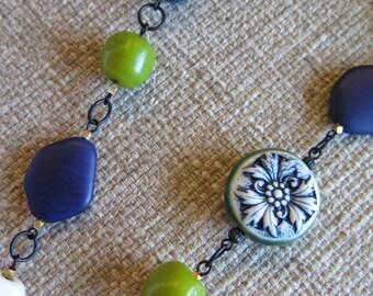 tassel necklace, blue necklace, china necklace, white and blue, slate blue necklace, long necklace, long blue necklace, blue tassel necklace