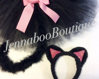 Cat costume, black cat costume,adult cat costume, baby cat costume, halloween cat costume, black cat tutu, girl cat costume, pink cat
