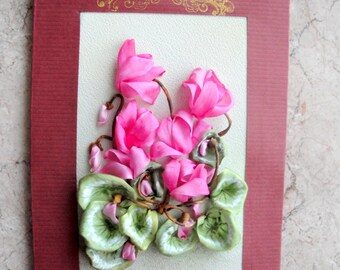 Silk ribbon embroidered card 'For you...'