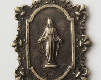 Gorgeous Antique medal Virgin Mary Fleur De Lis