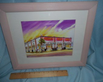 1992 Sloppy Joes Print Artist signed Rudy M. Suzana Ribbed Wood Frame