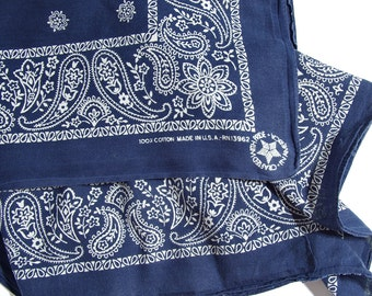 30% OFF SALE - 80s Crafted with Pride in America Navy Blue Paisley Bandana RN13962