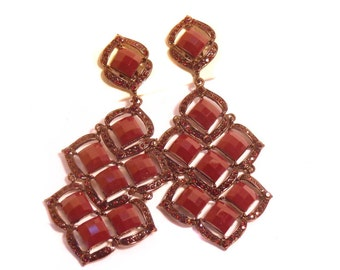 Clip-on Earrings Dangle Fancy Earrings Deep Wine Color Crystal 3 inch long