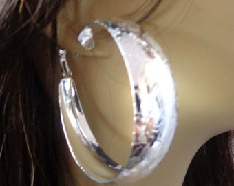 Large Hoop Earrings Silver Frosted Texture Design Hoop Earrings Silver Tone Earrings 2.5 inch Hoop
