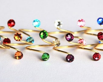 Birthstone Toe Rings in Silver/Gold Finish made with Swarovski Crystal Elements by LadyCJewellery