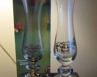 Christmas Pleasure, Christmas scene, 10 inches tall, footed glass vase, mailed from Canada