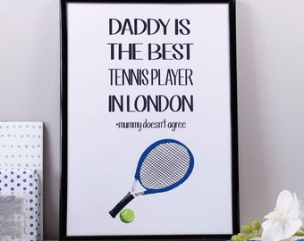 Daddy Is The Best Sports Print - Footballer Dad Gift - Tennis Dad Print - Rugby Dad Print - Sports print For Dad - Fathers Day Sport Gift
