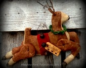 Primitive Folk Art Handcrafted Santa's Reindeer-Dancer-Winter, Christmas, Hafair team, DTHFAAP