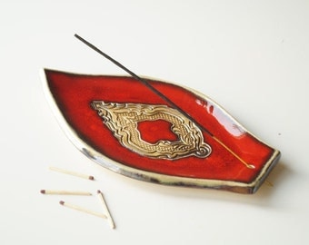 Red Incense Holder, Incense Burner, Incense Tray, Incense Dish, Incense Stick Holder, Ceramics and Pottery, Handmade Incense Burner