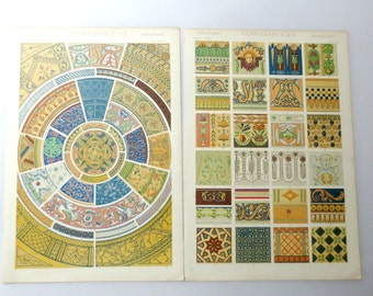 """Two 1800s Pages (Renaissance #5 and #6) from """"The Grammar of Ornament"""" by Owen Jones"""