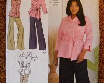 51% OFF Women's Wardrobe Pants Skirt Shirt / Sash Size 18w 20w 22w 24w Khaliah Ali Uncut Simplicity Sewing Pattern 2636