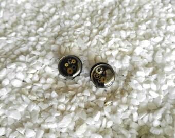 "7/16"" (11mm) Black Steampunk plugs - single flare - set C2"