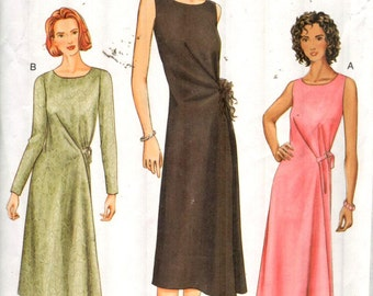"Vogue 7669, Sz 8-12/Bust31.5-34"".  Easy Pullover Sleeveless/long sleeve dress with asymetrical hem, OOP Misses sewing pattern."