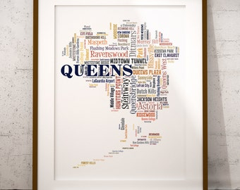 Queens New York Typography Map Art Print, Queens Map Art, Queens Neighborhoods Map Poster, Queens Poster Print, Queens Word Cloud