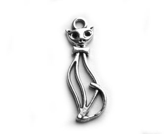 10 Silver Stretched Cat Charms - 33mm