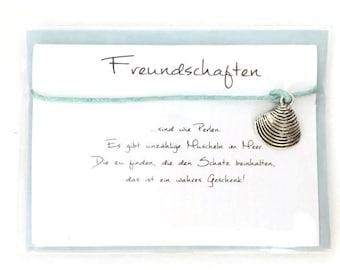 """Friendship Bracelet """"Friendships"""" Shell card envelope gift"""