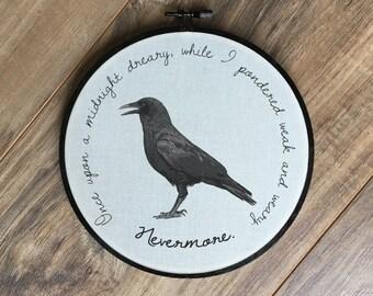 The Raven hoop print // poe crow poem wall hanging art home decor