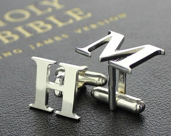 Personalized Sterling Silver Men Initial Cufflinks Wedding Cufflinks for Groom Gift for Father 3620