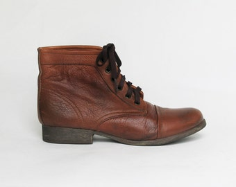 womens vintage brown leather ankle boots sz 9