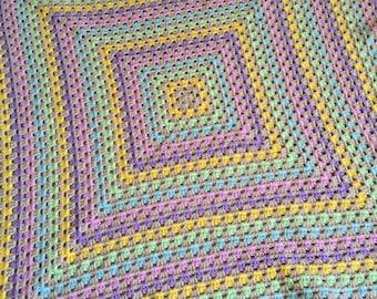 Crochet blanket Pastel granny square