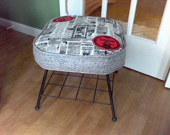 Mid Century foot stool, Black,white, Art deco,seating