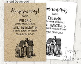 """Housewarming invitation template - Download, edit & print yourself today - Printable invitations Word templates Instant Download 5x7"""""""