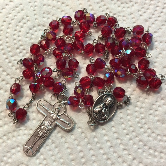 Red Ruby Beads: SALE Catholic Rosary Ruby Red Glass Beads Sacred Heart Of