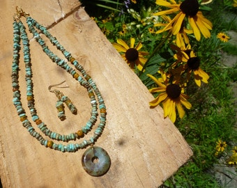double strand choker of magnesite and vintage german glass beads