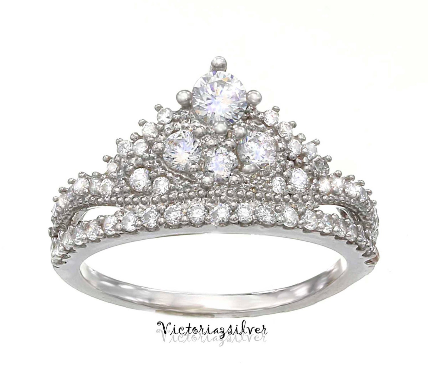 sterling silver crown ring promise ringtiara ringprincess