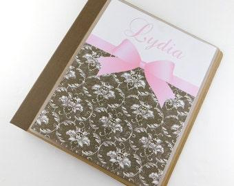 Damask Photo Album Girl Baby Photo Album Pink Baby Shower Gift 4x6 5x7 628