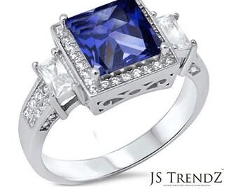 925 Sterling Silver Beautiful Princess Tanzanite & Cubic Zirconia RING JS16208-TZ