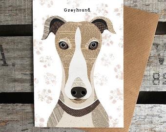 Greyhound dog greetings card
