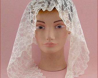 Vintage White Chapel Scarf Or Wedding Veil (Inventory #HAT306)
