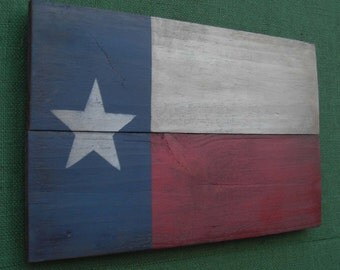 Rustic  Wooden Texas Flag, 11 X 18 inches. Made from recycled wood. B