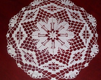 crochet doily, 16.1 inches, round doily, cotton doily, lace doily, crochet tablecloth