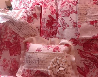 French Toile Throw Pillow  w Hand Stamped Muslim/Muslim Flowers  8x8 Pillow