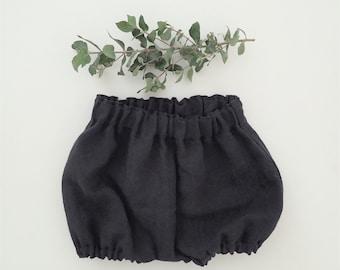 Baby Coal Linen Bloomers,Girls Linen Shorts, Children Clothing, Black Bloomers, Newborn - 3T,