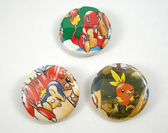 Pokemon Button Set - Charmander Cyndaquil Torchic - Set of 3 - Upcycled Pinback Buttons - Fire Type Starters - Pokemon Pins - Pokemon Badges
