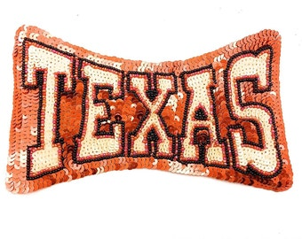 "Texas Word Applique with Orange, Cream Sequins and Black Beads, 8"" x 4.5""  -4069"