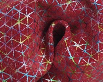 "Red Geometric Rainbow Leather Calfskin 8"" x 10"" Pre-cut TA-33644 (Sec. 4,Shelf 5,C)"