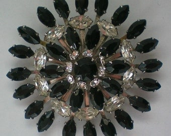 Large Multi-layered Black & Clear Rhinestone Brooch - 4569