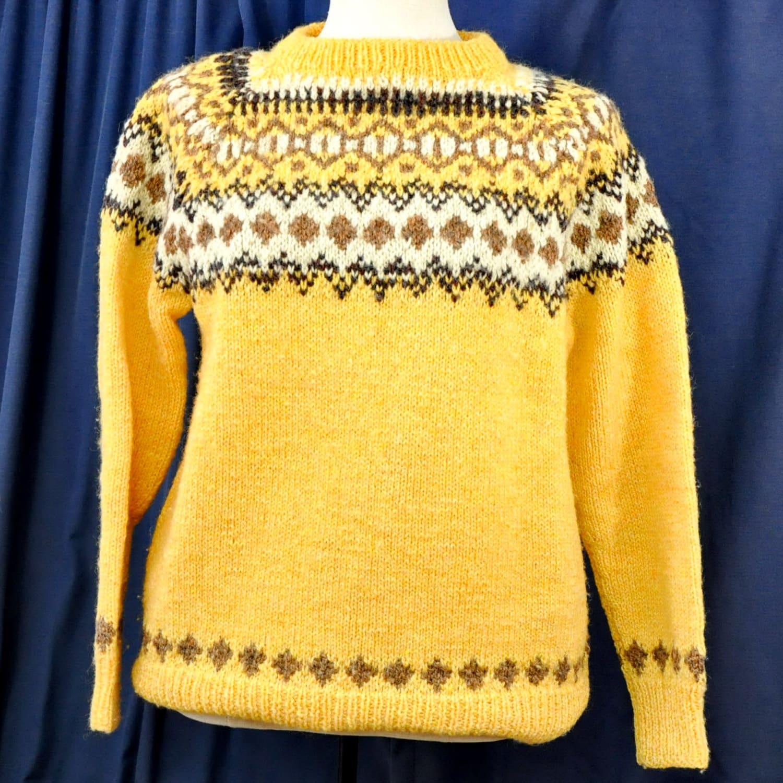 Knitting Patterns Lopi Wool : Hand Knit Wool Lopi Pattern Sweater Norwegian Style Pullover