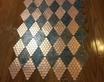 20 harlequin style real US copper penny tile sheets from KVS Mint Coin Tile