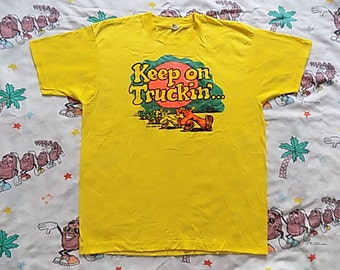 Vintage 80's Robert Crumb Keep On Truckin' iron on T shirt, size Large by Screen Stars suuuper soft and thin