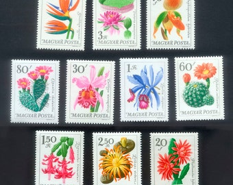 10 Exquisite Flower Postage Stamps from Hungary - Mixed Media, Handmade Cards