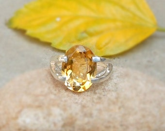 Sterling Silver Citrine Rings, Gemstone Stacking Ring, Artisan Silver Ring, Citrine Jewelry, November Birthstone Jewelry, Gift Jewelry