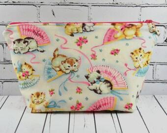 Kitsch Cats Cosmetics Bag, Make Up Bag